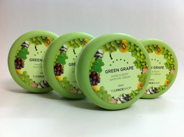 Kem dưỡng thể TheFaceShop Green Grape Hand & Body Shiffon Cream - Photo 5