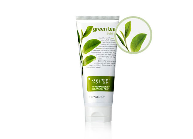 Sữa rửa mặt trà xanh TheFaceShop Green tea phyto powder in cleansing foam - Photo 2