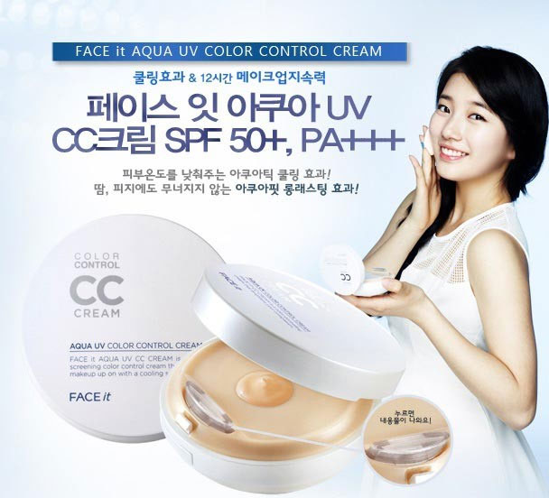 Kem che khuyết điểm TheFaceShop Face It AQUA UV Color control CC Cream - Photo 3